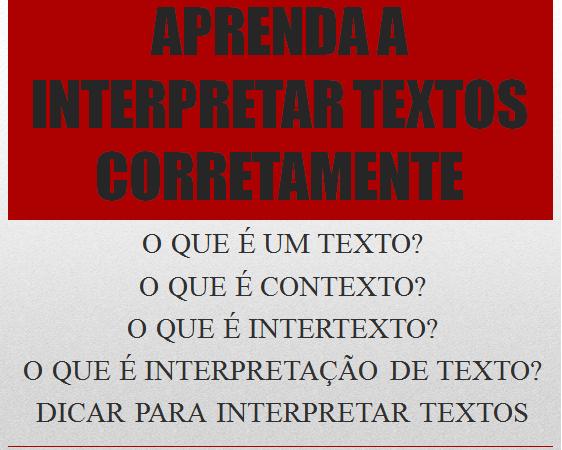 Aprenda a Interpretar Textos